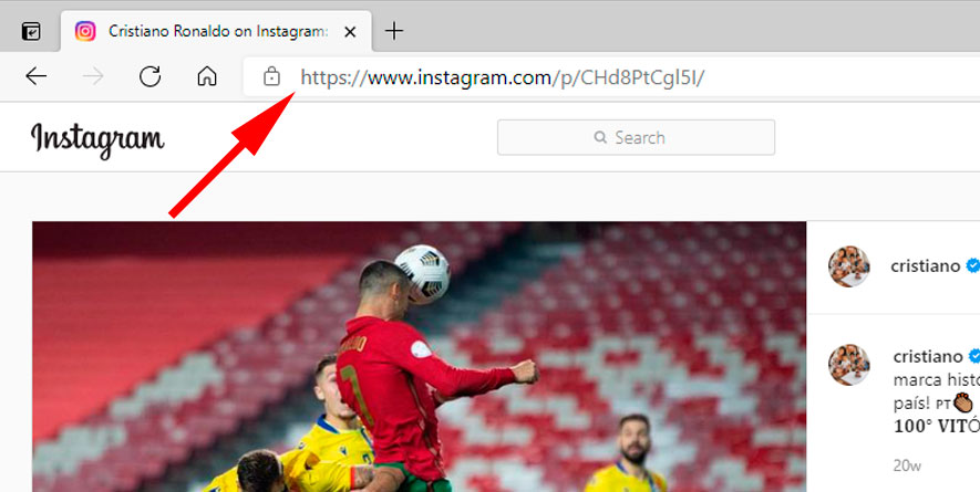Link al post di Instagram nel browser su PC